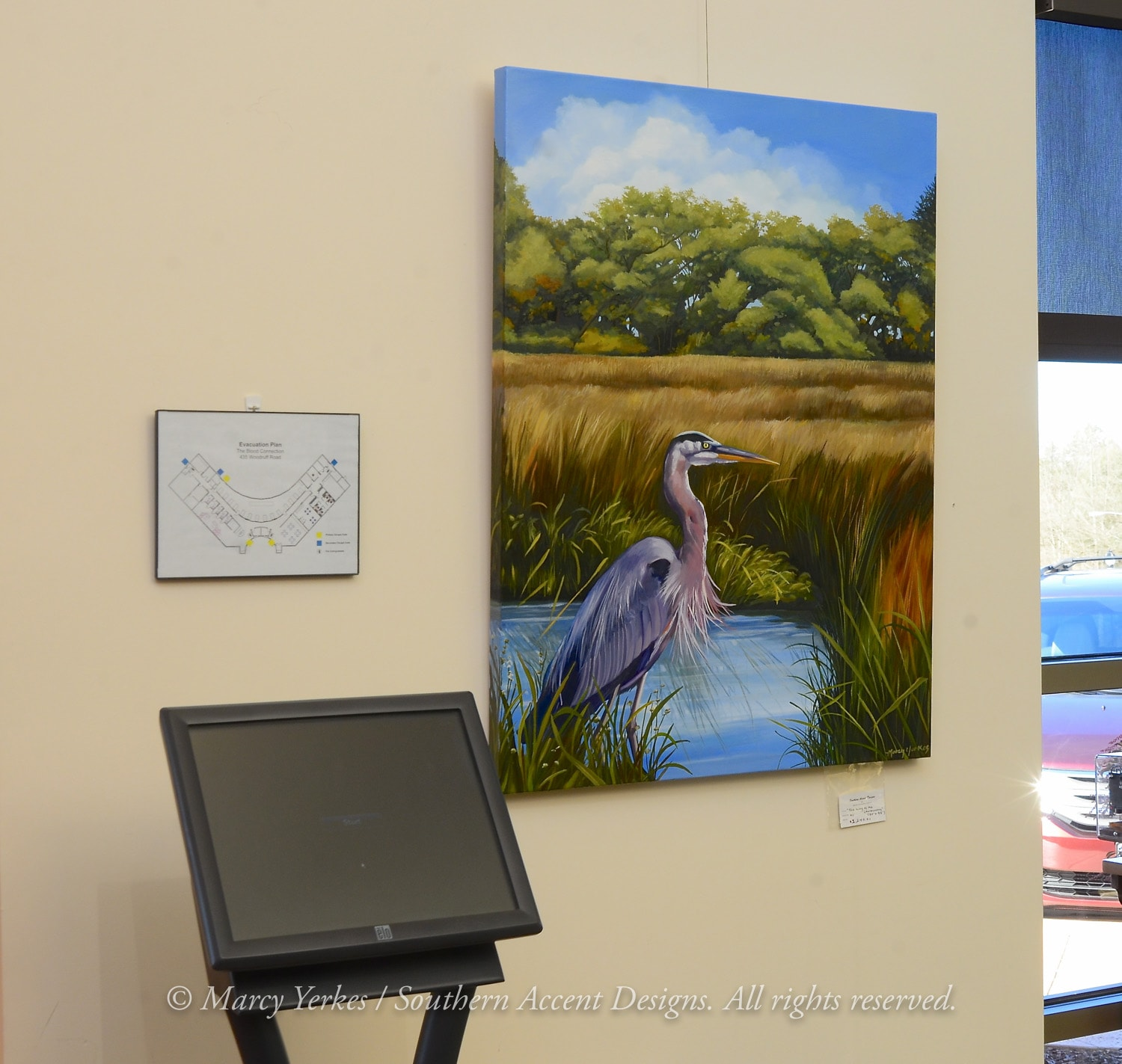 Marcy yerkes work heron 1 fine art murals by marcy for Home designs by marcy